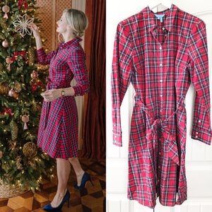 Draper James Red Plaid Tartan Shirtdress 14